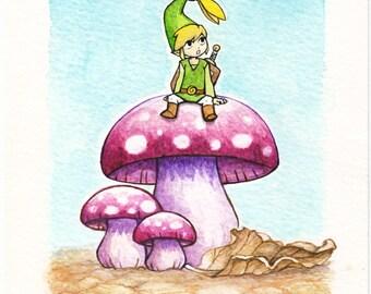 Minish cap legend of zelda - original watercolour artwork
