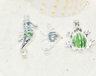 Beach Charm Jewelry, Silver Cage Jewelry, Seahorse Charm, Tropical Fish Charm, Frog Charm, Beach Jewelry, Coastal Necklace, Seaglass Locket