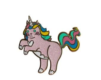 Unicorn Cat Enamel Pin - Unicorn Enamel Pin - Cat enamel pin - Caticorn enamel Pin - lapel pin hat pin - cute cat pin
