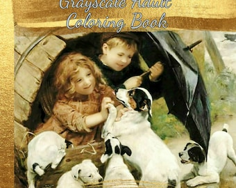 PDF of Victorian Children & Animals Grayscale Adult Coloring Book 60 Coloring Pages 30 Bonus Special Effects Coloring Pages