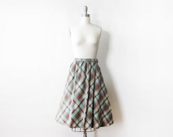 60s plaid skirt, vintage 60s wool skirt, teal and brown knee length midi skirt, extra smal xs