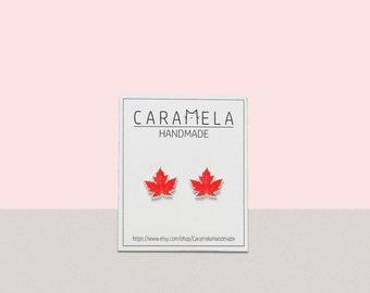 Maple Leaf Stud Earrings Leaf Stud Earrings Jewelry Canada flag earrings Autumn Fall Earrings Gift Idea