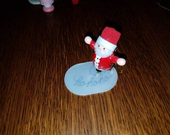 Enamel Painted Wood Santa on Skates Christmas Ornament