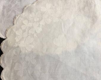 Vintage Irish Linen Doilies with Clovers