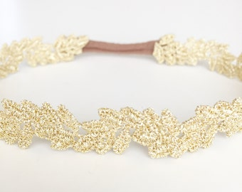 Gold leaf lace baby toddler headband newborn prop