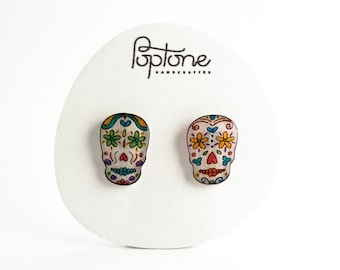 Sugar skull earrings, Mexican Day of the Dead earrings, calaveras earrings, Halloween jewelry, skulls