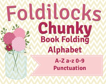 Chunky Alphabet for book folding/ folded book art/ origami. Uppercase A-Z, lowercase a-z, numbers, punctuation and a heart! Make any word