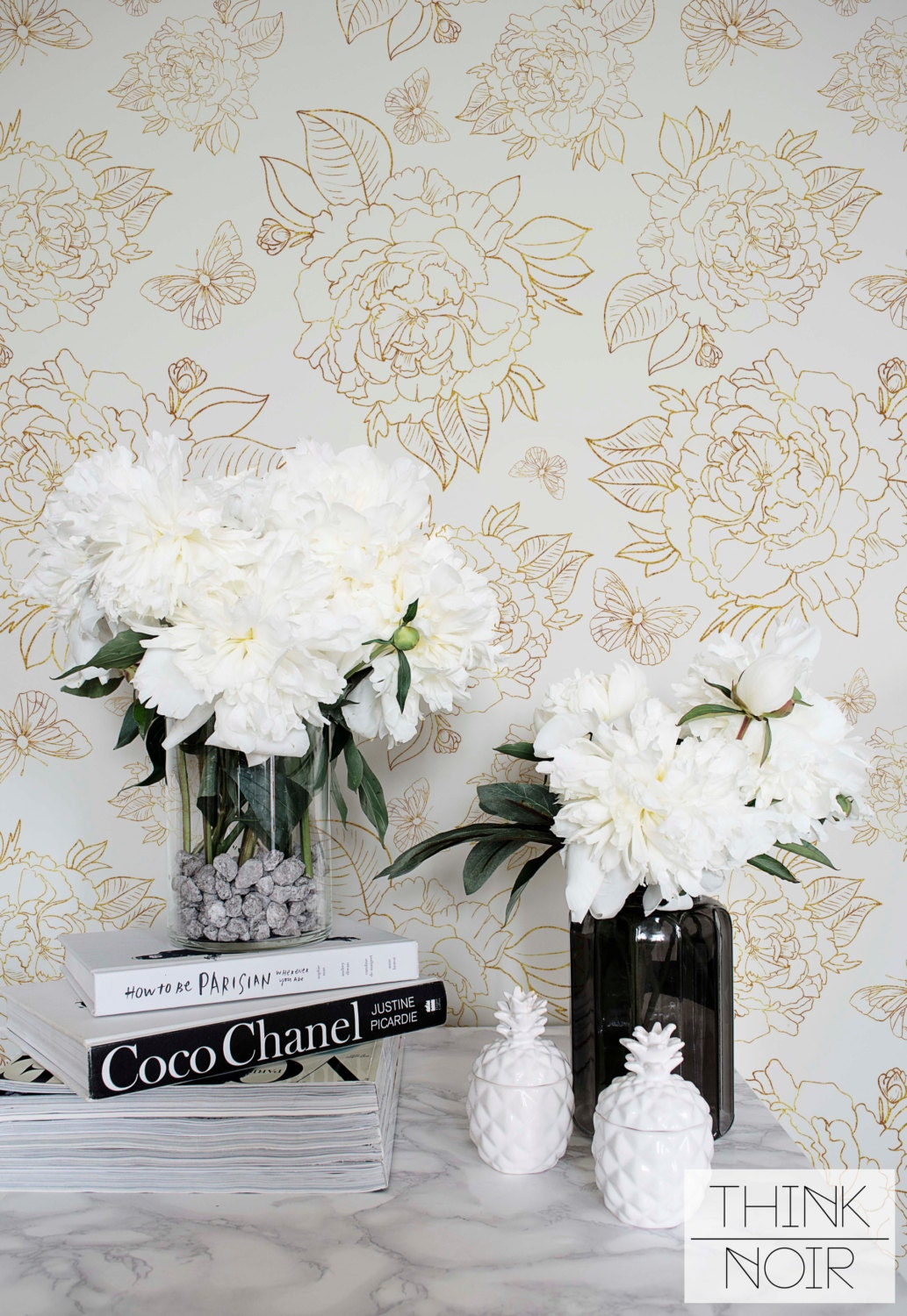 Yellow Peony Self Adhesive Wallpaper Floral Removable Or