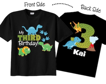 3rd Birthday Shirts with Dinosaurs Family Birthday Shirts with Dinosaurs on BLACK Shirts kZzKN