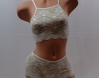 New! Scallop Lace Bralette, Lace Top Bridal gift,   CT103  Shorts sold separately.