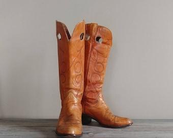 Western Buckaroo Vintage Leather Boots