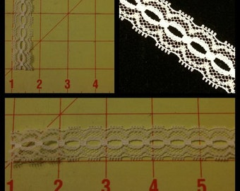 1O yards Narrow White Lace... Perfect for Weaving Ribbon through