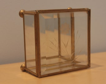 Vintage Glass and Brass Box with Etched Flower- Terrarium Box- Trinket Box