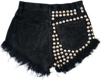 "Black SHORTS denim studded locks vintage jeans regular cut off with studs jeans festivalstyle rock L size 31"" waist"