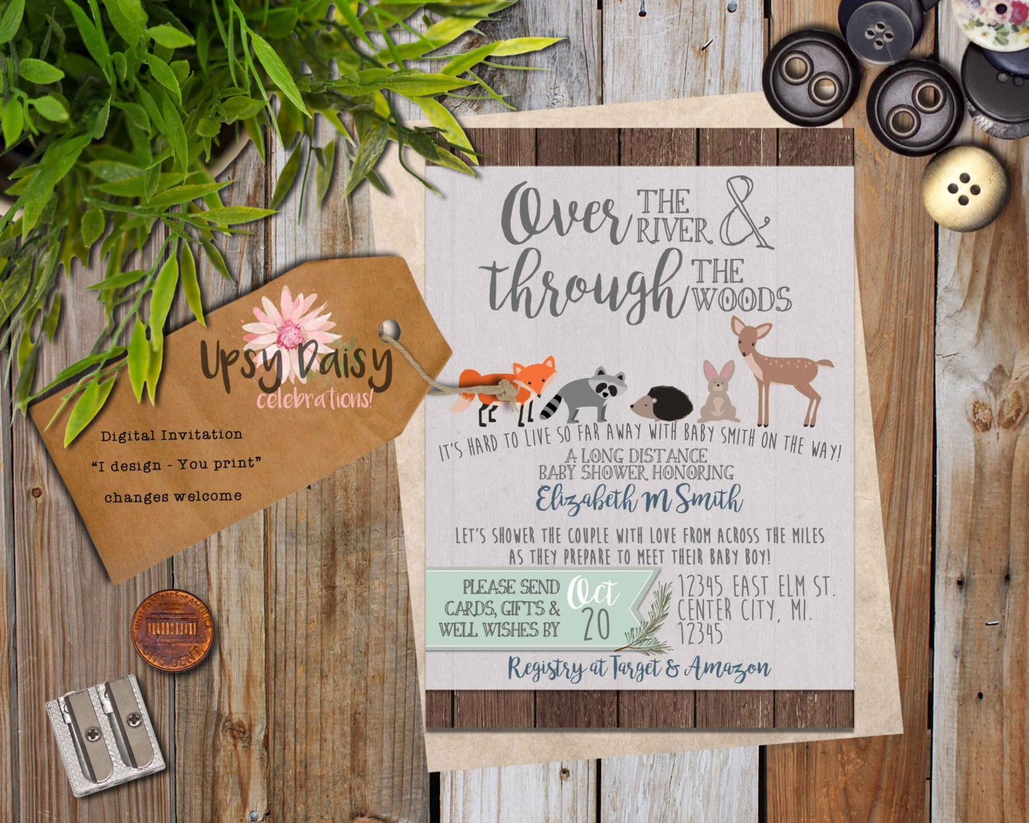 Baby Shower Gifts To Mail ~ Long distance baby shower invitation woodland rustic animals