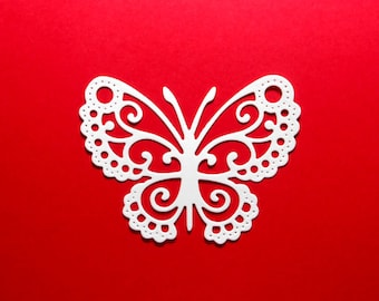 "Large Intricate Lace Butterfly Paper Die Cuts Color choice 3 3/8"" x 2 1/2"" Cardstock Butterfly Embellishments, Scrapbook, Card Making - 8 pc"
