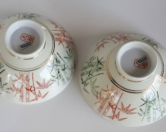 Red and Green Bamboo Rice Bowls Vintage