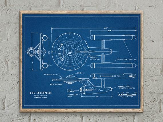 Star trek uss enterprise blueprint patent print star trek like this item malvernweather Image collections