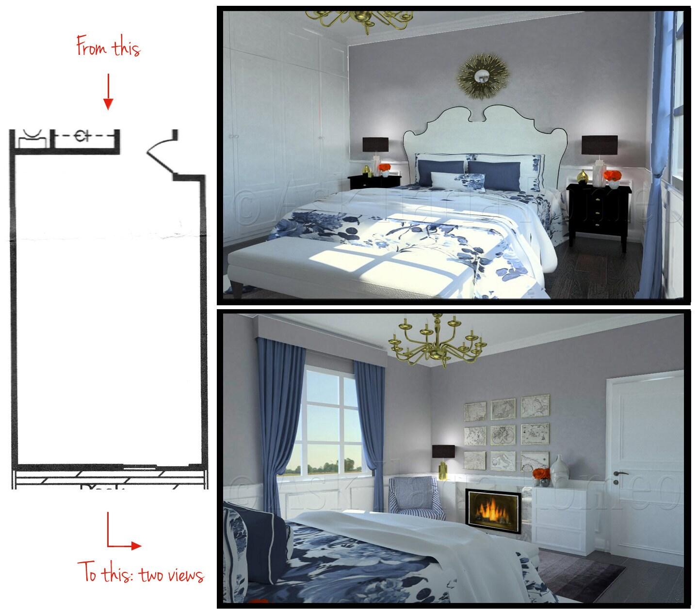 Bedroom Furniture Not Matching Bedroom Interior Quotes Bedroom Bed Back Wall Bedroom Design Board: Bedroom 2 Views Rendering Interior Design Custom Furniture