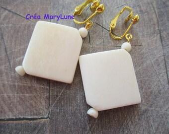 Clip earrings for pierced beige Horn