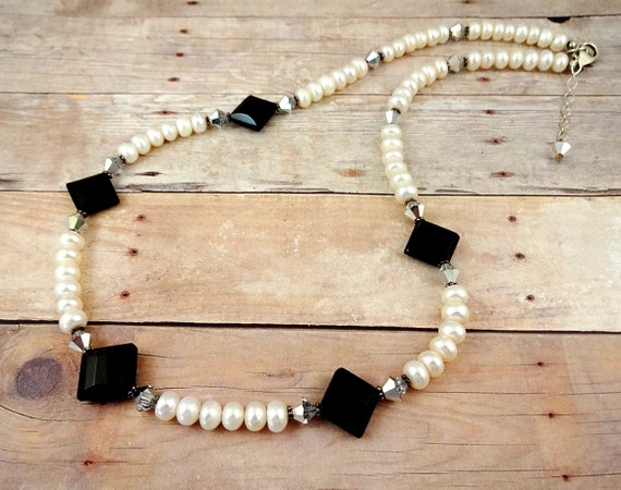White Pearl and Black Onyx Necklace, June Birthstone Necklace