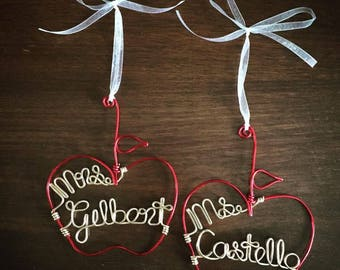 Custom Teacher Apple Ornament - Red, Gold or Silver Wire Ornaments for Holidays & Teacher Gifts