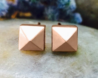 5x5MM Pyramid Studs | Geometric Minimalist Earrings | Solid 14K Gold | Fine Jewelry | Free Shipping