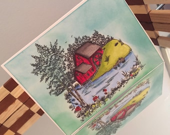 HandColored Barn Scenee