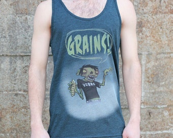 Vegan Zombie Grains Tank Top, Men's American Apparel Heather Green Blue Sportswear Tshirt Tee