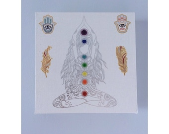Yoga Chakra Meditation Canvas • Yogi Princess Wall Art • Hamsa • Boho Hippie Feathers• Om • Queen • Peace • Love Lalas Workshop