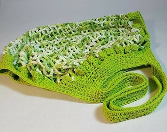 Market Bag, Hand Crocheted Cotton Reusable Tote - washable, eco-friendly