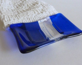 Fused Glass Soap Dish in Dark Cobalt and Royal Blue