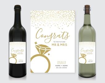 Congrats! Engagement Wine Bottle Label