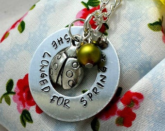 She Longed for Spring stamped necklace