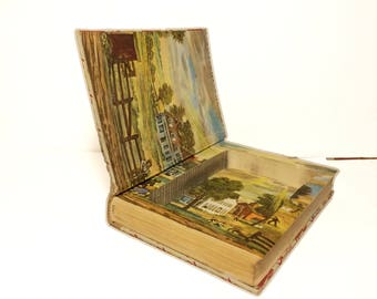 Hollow Book Safe Little Men Louisa May Alcott Cloth Bound vintage Secret Compartment Security hiding place
