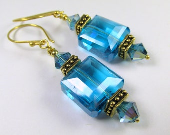 Blue Turquoise Faceted Cube Drops, with Antique Gold Tierra Caste Square Spacers and Swarovski Crystals on 22k Gold Vermeil Wires