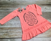 Girl Long Sleeved Ruffle Dress with Quote - Baby Girl D...