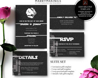 Wedding Template Suite, Printable Wedding Invitation, Editable Wedding  Template, Instant Download, DIY Wedding Template, Star Wars, Pdf,16,A