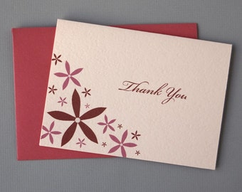 Red/Pink Floral (Thank You) 4-Bar Folded Card