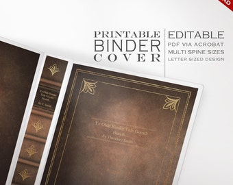 Leather Book Binder Cover - Printable Editable Antique Book Instant Download - Multiple Spine Sizes - Organization Faux Leather Bound Book