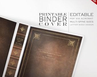 Leder Buchbinder - druckbare editierbare antikes Buch sofortigen Download - decken mehrere Wirbelsäule Größen - Organisation Kunstleder gebunden Buch