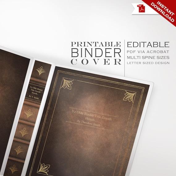 Leather Book Binder Co...1 1 2 Binder Spine Template