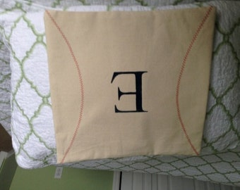 Personalized Monogram Baseball Pillow Cover