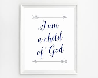 Nursery wall art christian, I am a Child of God, Christian nursery decor, Nursery Wall Art, Scripture wall decor, Christian Quotes