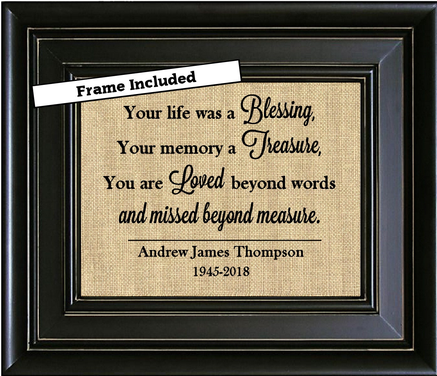 FRAMED Personalized Sympathy Gift Memorial Sign Condolence