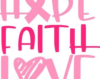 Nope Faith Love Cure Cancer SVG