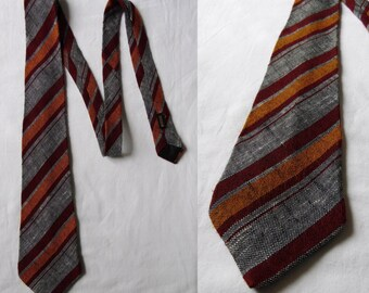 Mens tie, red orange grey stripey tie cravate, french vintage striped neck tie cravate