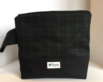 Knitting Project Bag, Wedge Bag, Zippered Bag, Large Shawl Size, Black and Green Plaid
