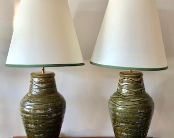 A Pair of Elegant Green Ceramic Lamps