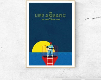 The Life Aquatic Poster featuring David Bowie and Seu Jorge - Illustrated Movie poster - Matte and Giclee Art Prints - Graphic Wall Art
